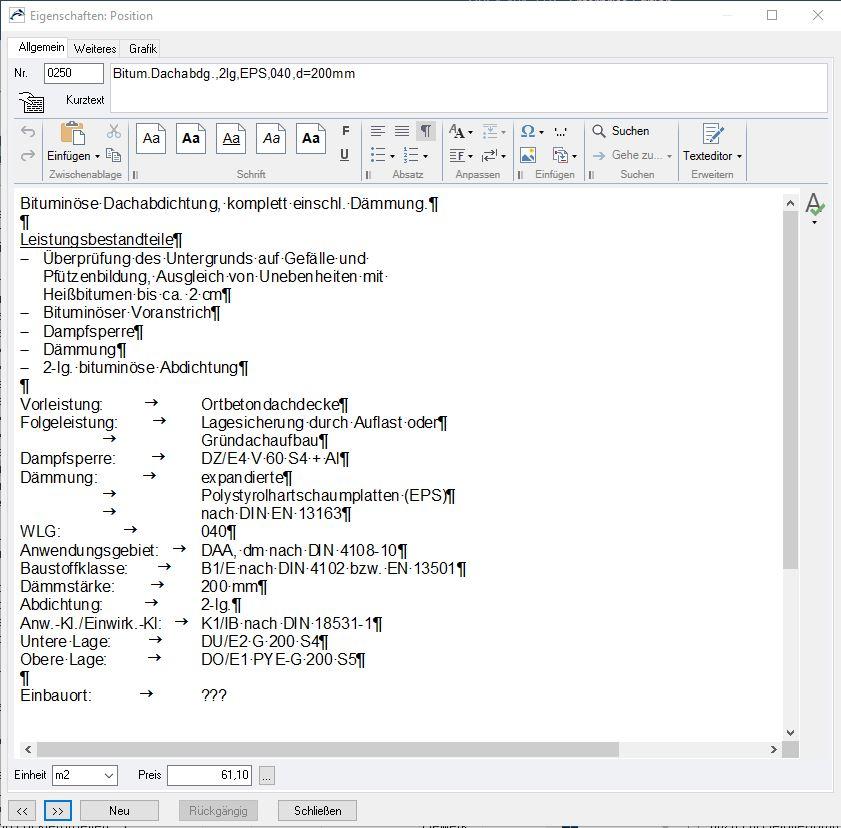 """Beispiel Leistungspositionstext aus Datenbank """"LV-Texte"""" (Screenshot aus ORCA AVA-Software)"""